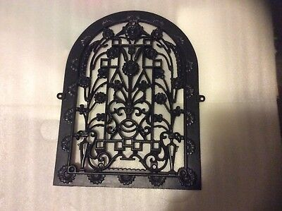 Antique Cast Iron Arch Top Victorian wall grate Heat Vent w/ Flowers