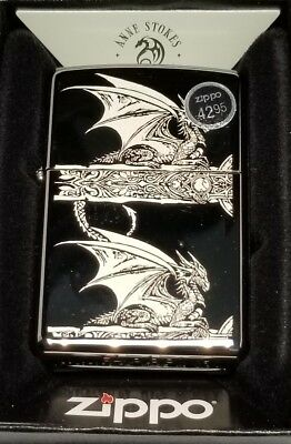 Zippo Windproof Anne Stokes Gothic Dragon Lighter, 28961, Black ice smoke New