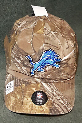 new styles 57eb5 ae5d6 47 Brand Detroit Lions Camo Realtree Hunting Football Hat Cap Adjustable