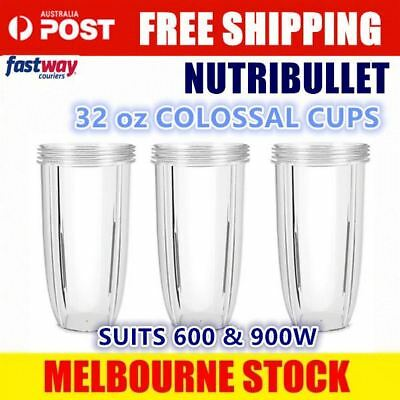 3x NUTRIBULLET COLOSSAL CUP 32oz BIG LARGE TALL Nutri Bullet 600 900w Blender