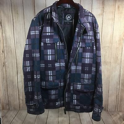 Urban Republic Clothing Purple Plaid Jacket Winter Fashion Mens Black Hoodie XL
