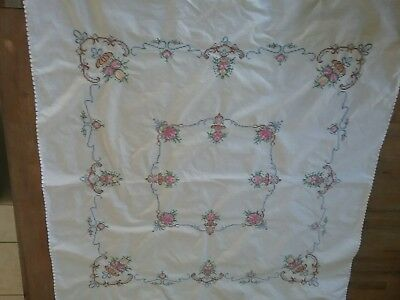 Stunning vintage embroidered cotton tablemat