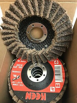 """Box of 5- Coarse Surface Conditioning Flap Disc 4-1/2"""" X 7/8""""  KEEN Brite 55728"""