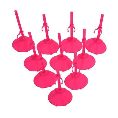 10 X Support Pedestal Display Stand For Barbie Doll -Rose Red K4P9