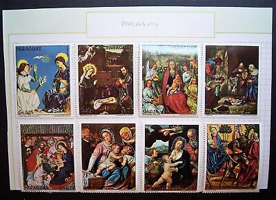 Paraguay -  Religious Paintings, 8 Stamp Set MLH,  Large Stamps