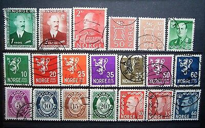 Norway - 20 Assorted Old Used Stamps, Nice Small Selection As Photographed
