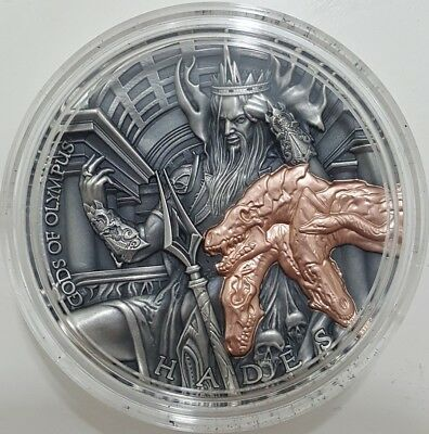 2018 2 Oz Silver Niue $5 HADES, GODS OF OLYMPUS Coin WITH 24K ROSE GOLD GILDED.