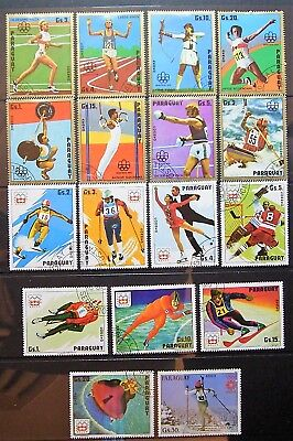 Paraguay - 17 CTO 1976 Olympics Stamps - Innsbruck 76 Winter, Montreal 76 Summer