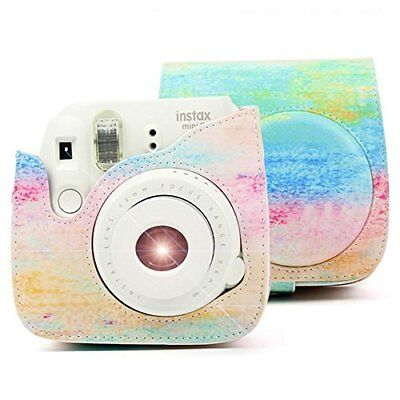For Fujifilm Instax mini8/8+/9 Instant Camera PU Leather Bag w/ Removable Strap.