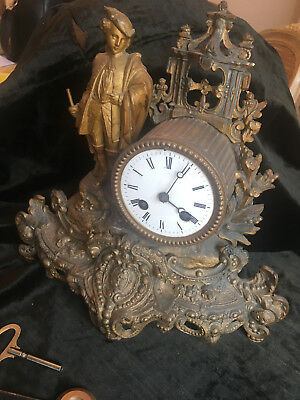 Ornate French  Antique Gilt Metal Clock For Restoration