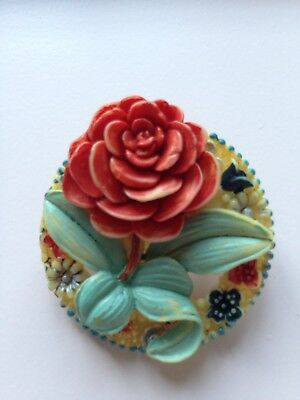Vintage Celluloid Rose And Flowers Brooch 1930's