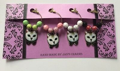 Wine Glass Charms - 4 Enamel Cat Wine Charms with Coloured beads
