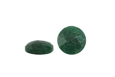 1x Semiprecious Natural Faceted Agate Emerald Round Cabochon Gemstone 8mm Size