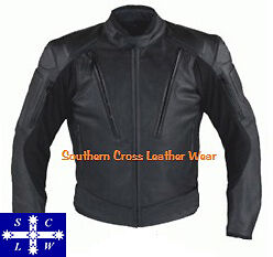 Men's Leather Motorcycle Riders Jacket With Vents and Armour MK3 size: Small-4XL