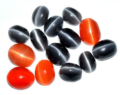 82.60 Ct Natural Orange & Black Quartz Cat's Eye Cabochon 14 Pcs Top Quality Gem