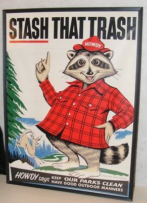 """HOWDY RACCOON SIGN FRAMED DECAL VTG 1950-60s AUTHENTIC LARGE 24""""X18"""" PA FORESTRY"""