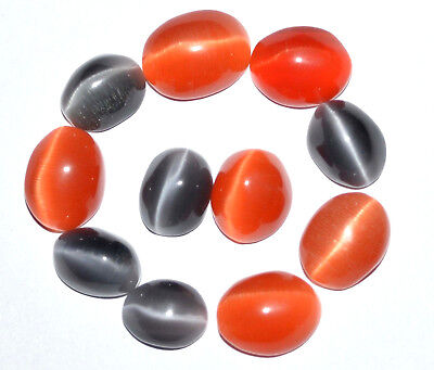 71.70 Ct Natural Orange & Black Quartz Cat's Eye Cabochon 11 Pcs Top Quality Gem