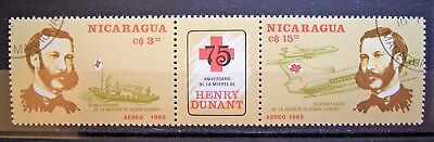 Nicaragua 1985, 75th Aniversary Henry Dunant, 2 Joined CTO Stamps,