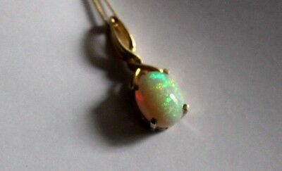 Vintage Gold Gilded Silver Solid Opal Pendant With Chain. Very Colourful.