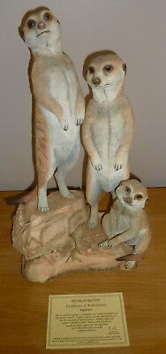 Large Country Artists Meerkat Family Vigilance Sculpted by Keith Sherwin + COA