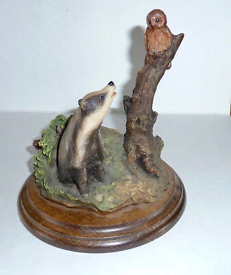 Very Early Country Artists Pieces Badger & Tawny Owl by George Matthews 1985