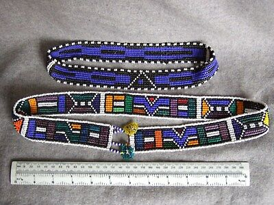 Late 20C South African traditional beadwork belt and head band