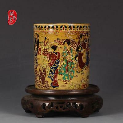 China old antique Porcelain Hand painting MINGGUO Pastel Exotic Beauty Brush Pot