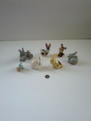 Vintage Miniature LOT OF Ceramic Bunny Rabbit Figurines Easter  Collectibles
