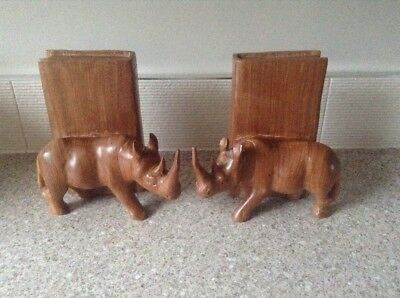 Vintage Kenyan Hand Carved  Rhino Solid Wooden Bookends
