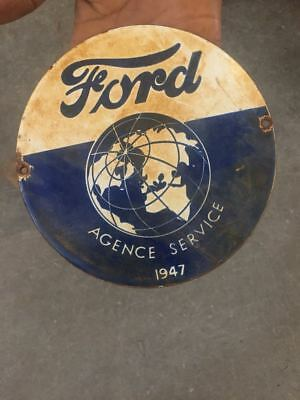 """Porcelain 1947 Ford Agency Sign SIZE 6"""" ROUND"""