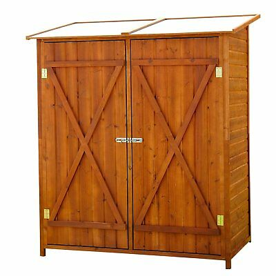 Large Patio Storage Shed Cabinet Box w/ 2 Doors Outdoor Yard Garden Wood