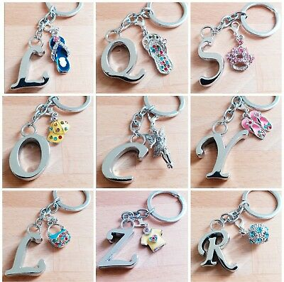 Personalised Initial Alphabet Letter clip on Keyring keychain Friendship family