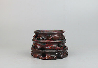 stand display pedestal real wood China wooden carved 1 set 3PC round base
