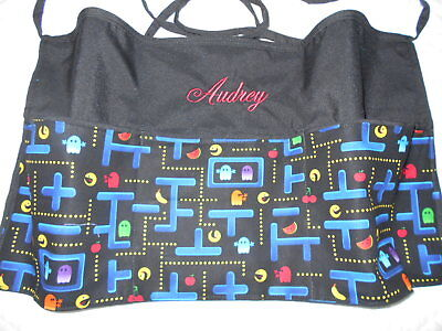 3 POCKET Black Server WAITRESS WAIST APRON Pac Man  W/WO Name Lady Pizazz