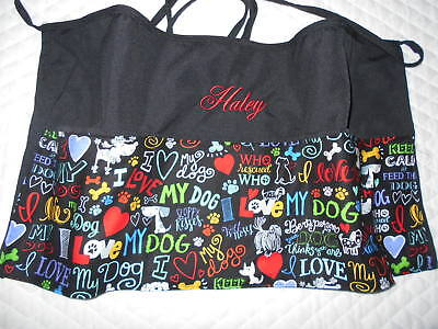 3 POCKET Black Server WAITRESS WAIST APRON Dog Love W/WO Name Lady Pizazz
