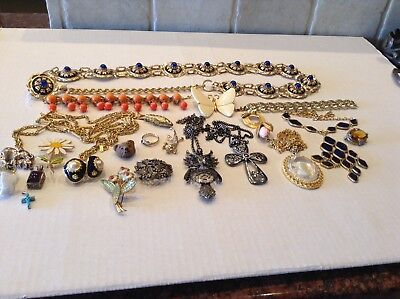 Large Lot Of Vintage Costume Sterling Silver Jewelry CrownTrifari Monet Etc...