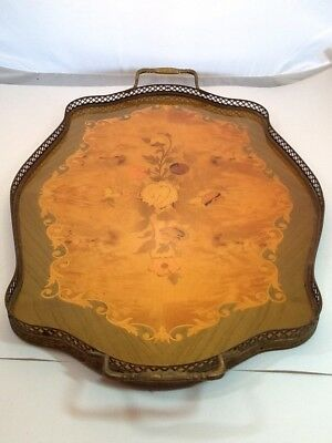 Vintage Italian Mariorita Made In Ana-Capri, Brass And Floral Wood Inlaid Tray