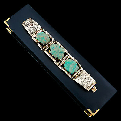Antique Vintage Deco Sterling Silver Plated Chinese Turquoise Tennis Bracelet