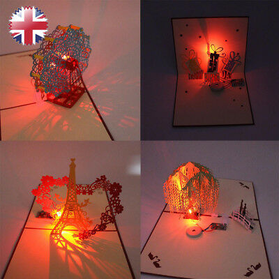 3D Music Light Pop Up Art Greeting Cards Birthday Handmade Postcard Party Gift