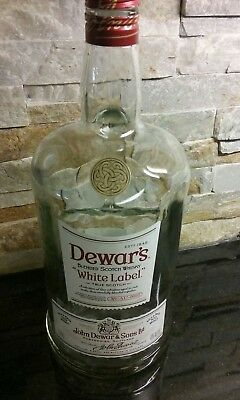 Dewars white label whisky bottle, 1.75 L Scotland (empty)