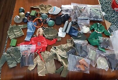 vintage action man massive job lot hats clothes accessories etc