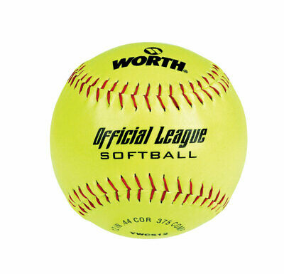 Worth Softball Recreation 12 In. Red Stitch Cork Core Pack of 12