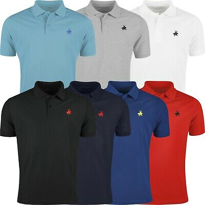 New Mens Polo Shirt Short Sleeve Plain Designer Style Top Fit Horse Pony T Shirt