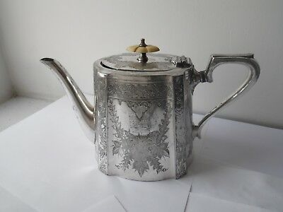 Antique British Made Engraved Floral Design Silver Plated Teapot By Barker Bros
