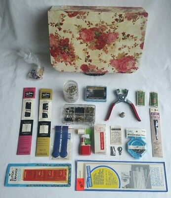 Vintage Sewing Notions Lot Antique Thimble Germany Dritz Pins Zippr Flowery Case