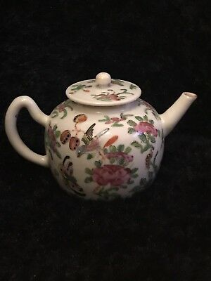 Antique Famille Rose 19th Century Teapot Rare Beautiful