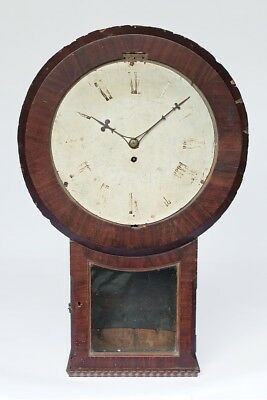 "12"" Mahogany Drop Dial Fusee Wall Clock for Restoration or Parts."