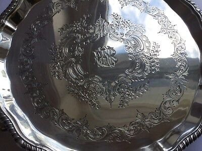 Victorian Sterling Silver heavy Platter Tray by Charles Boyton  London