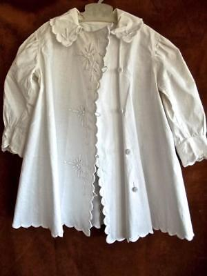 Antique Edwardian White Cotton Toddler Light Summer Coat Hand Sewn Embroidered