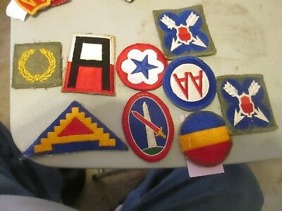 u,s, army world war 2 10 assorted army and command patches all excellent conditi